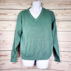 Eddie Bauer ribbed knit v-neck pullover sweater XL